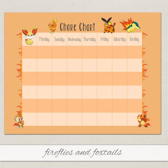 Blank Fire Pokemon Behavior or Chore Chart * Visual Schedule * Instant ...