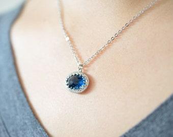SALE, Elegant necklace, Sapphire necklace, Glass necklace, Everyday necklace, Wedding jewelry, Bridal necklace,Oval necklace,Silver necklace