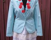 Turquoise Blue Upcycled Jacket with Orange Crochet Flowers & Beading-Junk Gypsy Style
