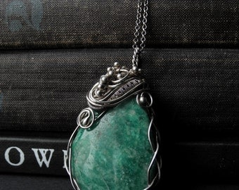 Statement pendant necklace, green silver necklace, silver pendant with green Amazonite gemstone
