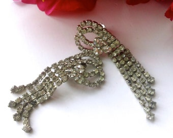 Art Deco Rhinestone Dangle Fringe Earrings Bridal Wedding Fashion Jewelry