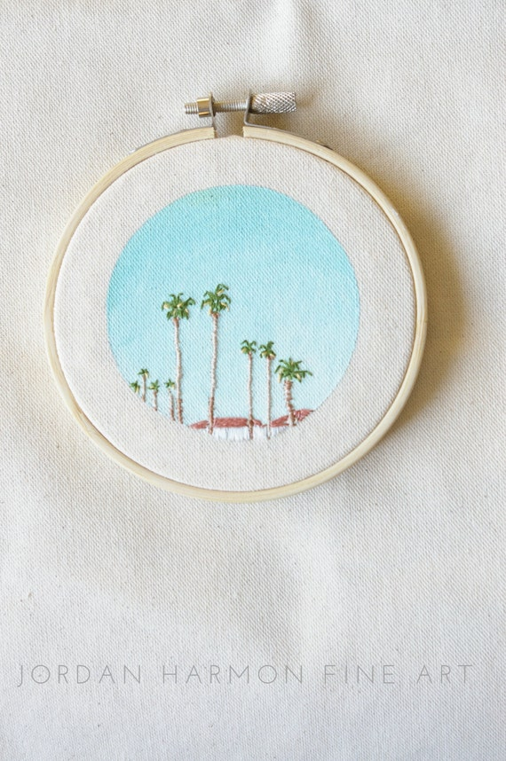 Summer Palm Trees in California Mini Embroidery Art