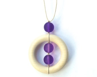 Teething Necklace for Mom - Wooden Nursing Necklace - Shades of Purple, Lilac, Mauve