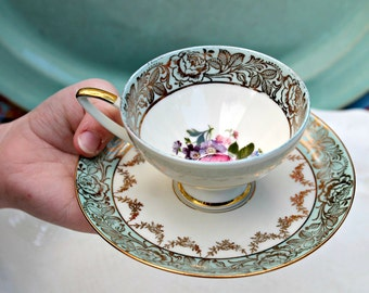 Antique Demitasse Tea Cup and Saucer, Alka Bavarian Gold Rimmed Fine Bone China, Romantic Shabby Chic, Tea Party