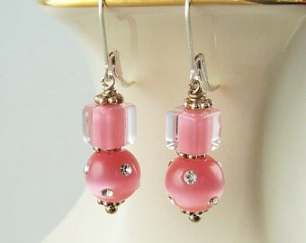 Pink Dangle Earrings Beaded Earrings Cane Glass Cats Eye Sterling Silver Pink Earrings Lever Back Glass Drop Earrings Pink Jewelry