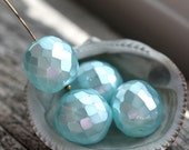 14mm beads, faux pearls, Turquoise Blue beads, Fire polished, czech glass, large round beads, faceted, ball beads - 4Pc - 2338