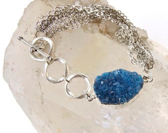 SALE! Bright Blue -Quartz Druzy -Silver Chain Bracelet-druze-druse-Summer Color!