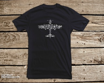 Fighter Plane Collage of Airplanes, Helicopters and Parts. Flight V1.0 Collage in Navy/white- T Shirt