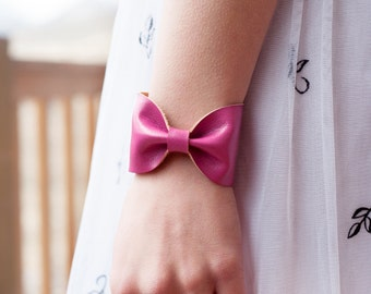Pink Bow Bracelet, Faux Vegan Leather Jewelry Cuff Bridesmaid, Doctor Who Tie Bowtie, Wrist Tattoo Cover Up, Unique Bridesmaid Gift Wife