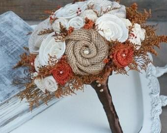 Autumn Orange Wedding Bouquet // Autumn Wedding Flowers, Fall Bridal Bouquet, Sola Flower, Burlap, Dried Flower, Small Bride Bouquet
