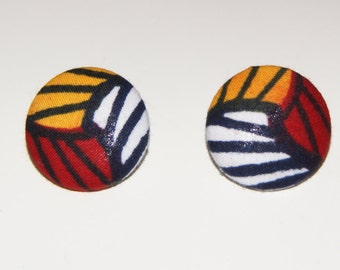 Fabric Covered Button Earrings- YRW Abstract