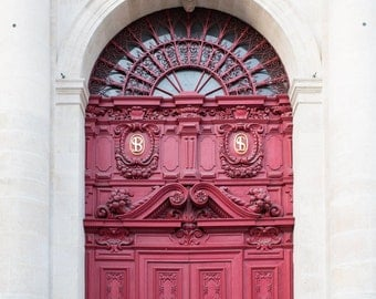 Paris Photograph - Red Door at Saint Paul Saint Louis, French Decor, Architectural Fine Art Photograph, Large Wall Art, Home Decor