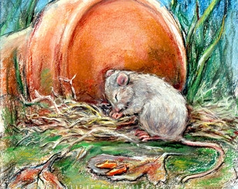 """Animal baby, Mouse, Nursery art print, wildlife, woodland, Canvas or art paper print, """"Now I Lay Me Down To Sleep"""" Laurie Shanholtzer"""