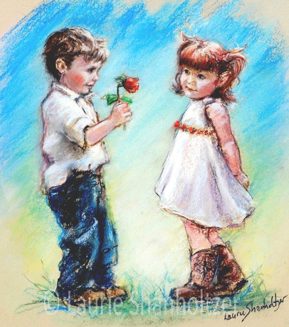 "Children's Art, couple sweethearts boy and girl, Valentine ""LOVE YOU"" Laurie Shanholtzer, Canvas or cotton art paper"