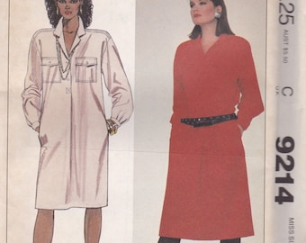 Loose Fitting Dress Pattern McCalls 9214 Size 10/12 Uncut