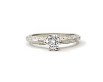 White gold diamond engagement ring, eco friendly 0.5 carat diamond, vintage inspired unique handmade ring