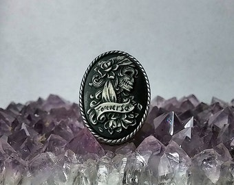 Sugar Skull Lolita Lady Cameo Adjustable Ring - Forever Love - Day of the Dead
