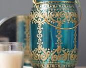 Painted Mason Jar, Teal Blue Glass with Bohemian Golden Design