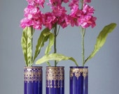 Moroccan Glass Vases, Plum Purple Tinted Glass with Golden Accents