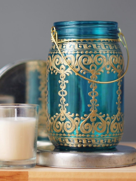 painted mason jar teal blue glass with bohemian golden design. Black Bedroom Furniture Sets. Home Design Ideas