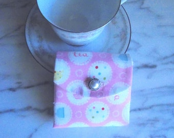 Tea Bag Wallet with Faux Pearl Button - Pink - White