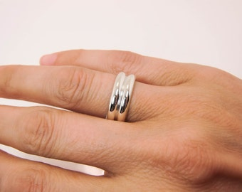 Sterling Silver Ring - Sterling Silver Double Half Round Band - Thick and Wide Double Half Round Ring - Silver Double Half Round