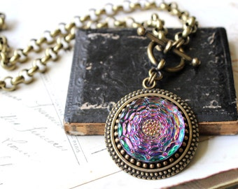 Colorful Glass Pendant Necklace Toggle, Swirls of Teal Purple Fuchsia, Gardener Gifts, Floral Flower Glass Necklace Button Jewelry veryDonna