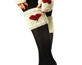 Valentine's Day Boot Cuffs and Hand Warmers, Knit Boot Cuffs, Knit Hand Warmers, Heart Boot Cuffs, Fingerless Gloves, Faux Socks