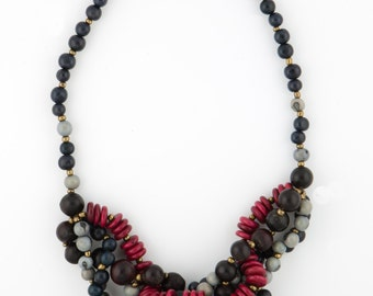 Tagua Mixed Seed Statement Necklace / Seed Jewelry / Tagua Jewelry / Acai Jewelry / Acai Necklace / Statement Necklace / Fair Trade