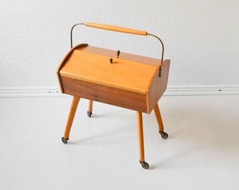 Vintage sewing basket sewing box knitting basket jewelry organizer box