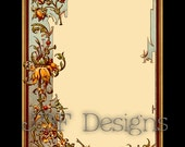 Instant Digital Download, Victorian Era Graphic, Decorative Floral Frame, Text Box, Label, Printable Image, Scrapbook