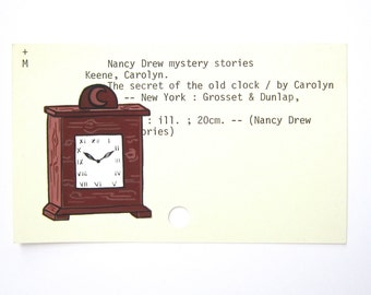 Nancy Drew Library Card Art - The Secret of the Old Clock