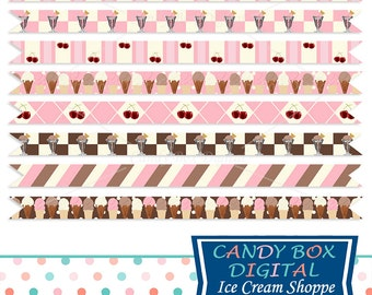 Retro Neapolitan Ice Cream Ribbon Border Clipart, Summer Border Clip Art - Commercial Use OK