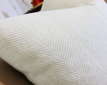 19 x 19 Colefax and Fowler Pillow Cover - Ivory Chevron Stripe Houndstooth - Woven Herringbone - Neutral Pillow Cover - Off White Decor