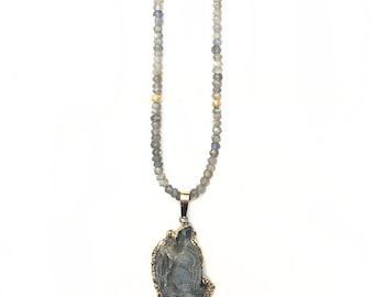 Galaxy Stone Druzy Agate Necklace with Faceted Labradorite Gemstones on Gold Filled Chain