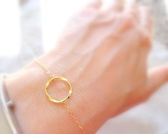 Circle Bracelet, Gold Circle Bracelet, Dainty Gold Bracelet, Dainty Bracelet, Gold Jewelry, Jewelry Gifts Delicate Gold Bridesmaids Bracelet