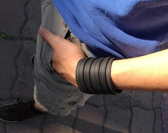"""Leather bracelet """"Protector"""", Gifts for him, Men's bracelet, Black leather cuff, Men's bracelet, Men's cuff bracelet, Worldwide Shipping"""