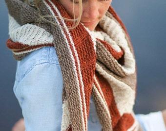 Bradway Shawl Knitting Pattern Triangular Rustic Modern Textured Ribbed PDF