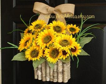 summer wreath sunflowers wreaths front door decor yellow front door wreaths gift ideas outdoor wreaths