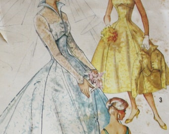 1950s Bridal/ Wedding Gown Pattern/ Simplicity 2066/ Vintage Sewing Pattern / Bust 36