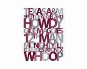Items Similar To Custom Personalized Texas A Amp M Aggies Typography Print On Etsy