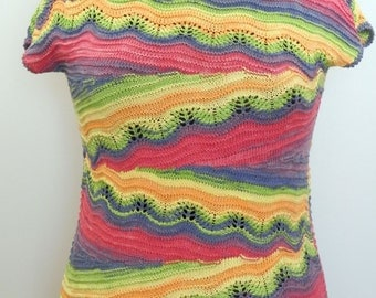 Knitted top - knit t-shirt - knit pullover - cotton top - rainbow top - knit summer top - women knitwear - short sleeved top - gift for her