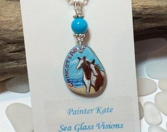 Sea Glass Necklace, Horse Jewelry, Sea Glass Jewelry, Beach Glass Necklace, Horse Pendant, Chincoteague, Virginia, Pony Jewelry