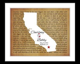 Any state map gift, custom wedding gift, bride groom gift, anniversary gift, song lyrics, california wall art decor, unique poster present