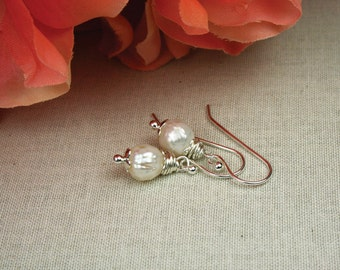 Pearl earrings, faceted pearls, pearl drop earrings, dangle earrings, gifts under 25, freashwater pearl earrings, silver and pearl earrings