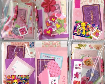 Party Favors, 8 Girly Mini Packs of Snail Mail fun, random stationery sets, pen pal kits, happy mail gift for teen, girl