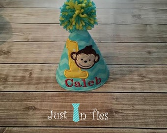 Monkey Baby Boy Birthday Hat Personalized