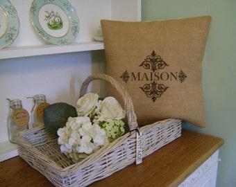 "Maison - 16"" Hessian Jute burlap cushion/pillow cover Vintage French shabby chic country UK handmade"