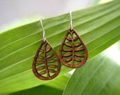 Leafy Earrings in cherry, wood jewelry, bamboo jewelry, leather jewelry, nature jewelry