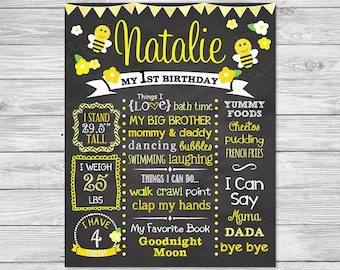 Bumble Bee First Birthday Chalkboard Printable,  Little Bumble Bee, Birthday Chalkboard Sign, Bumble Bee Birthday
